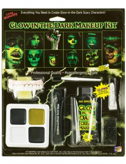 Glow in the Dark Halloween Make-Up-Set grün
