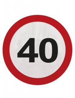 40. Geburtstag Servietten 20 Stück rot-weiss-schwarz 15,5cm