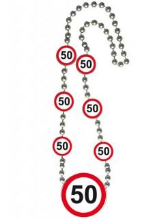 Geburtstagsparty Halskette 50 Geschenkidee rot-weiss-schwarz