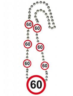Geburtstagsparty Halskette 60 Geschenkidee rot-weiss-schwarz