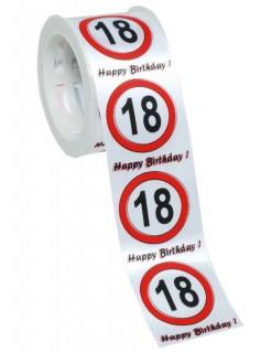 Satin-Geschenkband 18. Geburtstag weiss-rot-schwarz 300 x 4 cm