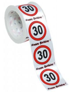Satin-Geschenkband 30. Geburtstag weiss-rot-schwarz 300x4cm