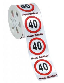 Geschenkband Satin 40. Geburtstag weiss-rot-schwarz 3x4cm