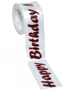 Satin-Geschenkband Happy Birthday weiss-schwarz-rot 300x4cm