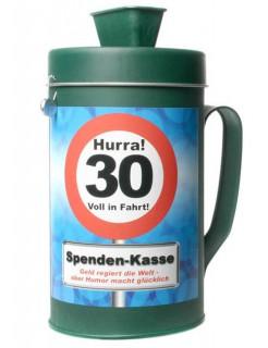 Spendenkasse 30. Geburtstag Geschenkidee grün-bunt 19x9,5cm