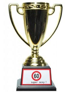 Pokal 60. Geburtstag gold-rot-weiss 6x6x17,5cm