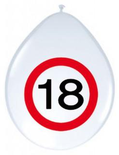 18. Geburtstag Luftballons Party-Deko 8 Stück weiss-rot 30cm