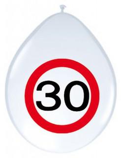30. Geburtstag Luftballons Party-Deko 8 Stück weiss-rot 30cm