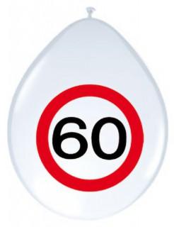 Luftballons 60. Geburtstag Party-Deko 8 Stück rot-weiss-schwarz 30cm