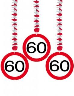 Spiralen 60. Geburtstag Party-Deko 3 Stück rot-schwarz-weiss 76x18cm