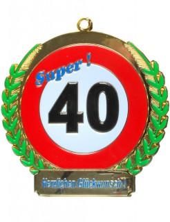 40. Geburtstag Orden Geschenkidee bunt 6,5cm