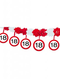 18. Geburtstag Girlande Party-Deko schwarz-rot-weiss 400x20cm