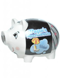 Papas Sparschwein aus Porzellan weiss-bunt 8x13cm