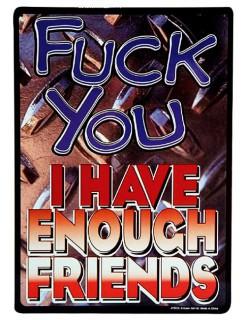 Blechschild Fuck you I have enough friends blau-rto 21x30cm