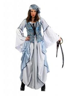 Edel Piratin Damenkostüm schwarz-hellblau