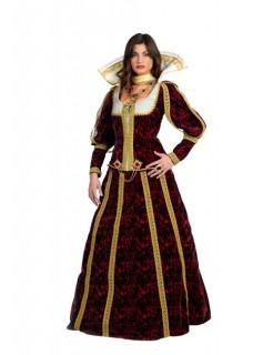 Königin Mittelalter Damenkostüm bordeaux-gold