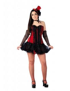 Burlesque Corsage Showgirl mit Zylinder rot-schwarz