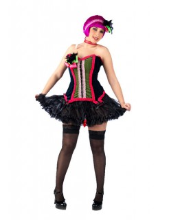 Burlesque Corsage Showgirl schwarz-bunt