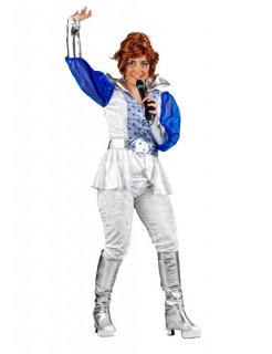 70er Disco Damenkostüm silber-blau