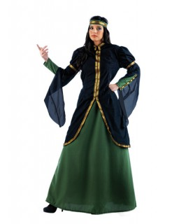 Mittelalter Adlige Damenkostüm schwarz-grün