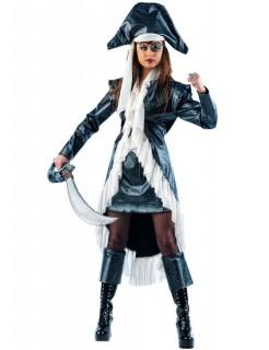 Verruchte Piraten Kapitänin Damenkostüm schwarz-weiss