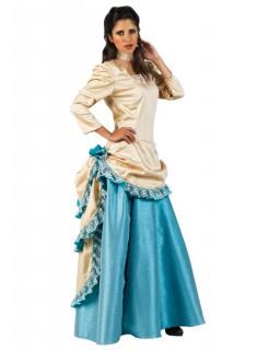 Wildwest Deluxe Damenkostüm Western beige-blau