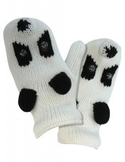 Strick-Fäustlinge Pandabär weiss-schwarz