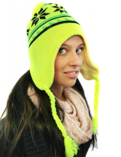 Neonmütze mit Ohrenschützern gelb-schwarz-grün