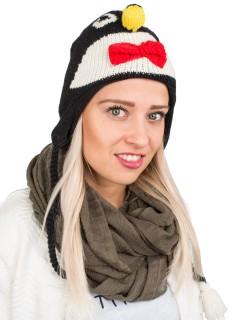 Strickmütze mit langen Bommeln Pinguin schwarz-weiss