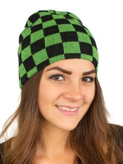 Beanie Mütze Blockkaro schwarz-grün