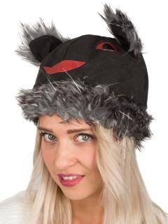 Strickmütze Hase schwarz-rot-grau