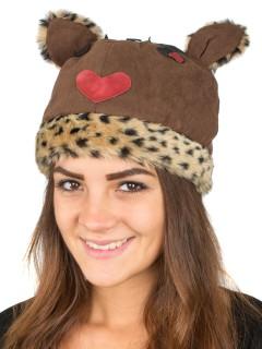 Wintermütze mit Herz leo-braun