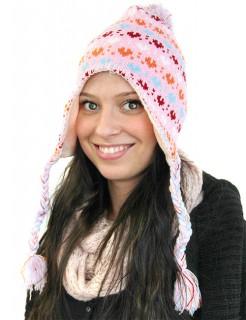 Mütze mit Ohrenschützern Herzen rosa