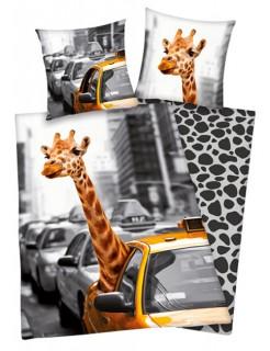 New York-Bettwäsche Giraffe schwarz-weiss-gelb