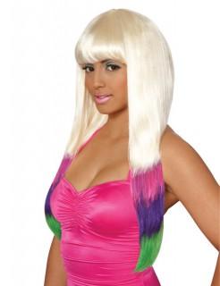 Popstar Perücke mit bunten Spitzen platinblond