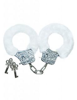 Handschellen mit Plüsch erotisches Spielzeug weiss-silber