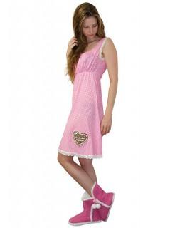 Hüttn Gaudi Nachthemd rosa-weiss