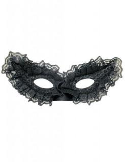 Venezianische Domino Augenmaske Spitze schwarz