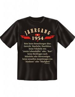T-Shirt Jahrgang 1954 schwarz-beige-rot