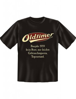 T-Shirt Oldtimer Baujahr 1959 schwarz-beige-rot