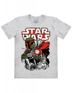 Star Wars™-T-Shirt Boba Fett Easy Fit grau-rot-grün