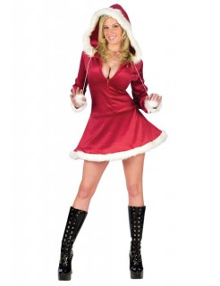 Sexy Weihnachtsfrau mit tiefem Ausschnitt Damenkostüm rot-weiss
