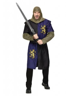 Mittelalter Ritter Kostüm Krieger blau-schwarz