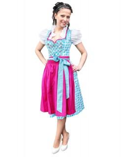 Du ich & Tracht Midi Dirndl Trachtenkleid hellblau-pink