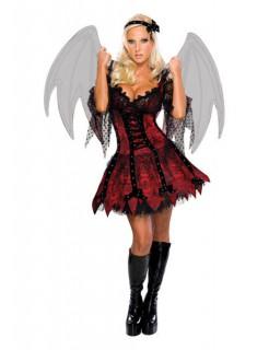 Vampir Fee Damenkostüm rot-schwarz (Bundle)