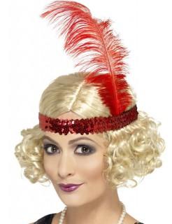 20er Can Can Charleston Perücke mit Kopfband blond-rot