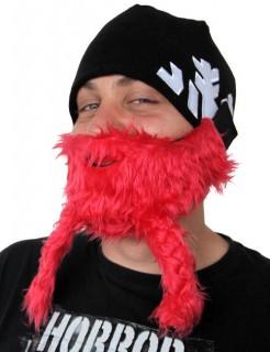 Bartmütze Wikinger Skimaske Snowboardmaske Red Viking rot-schwarz-silber