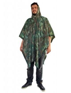 Regen-Mantel in Tarnfarbe Poncho für Festivals grün-braun 200x127cm
