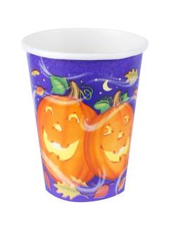 Halloween Kinderparty Pappgeschirr Becher Lustige Kürbisse 8 Stück bunt 266ml