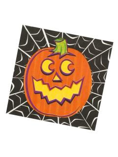 Halloween-Pappgeschirr Grinsender Kürbis 16 Servietten orange-schwarz 33x33cm